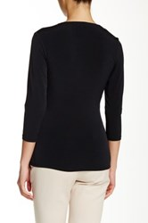 Ellen Tracy 3 4 Length Sleeve Twist Blouse Black