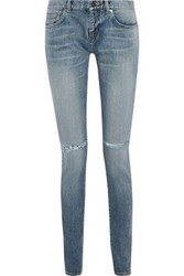 Saint Laurent Woman Distressed Low Rise Skinny Jeans Mid Denim