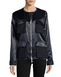 Pink Tartan Double Zip Satin Utility Jacket Navy