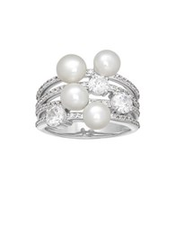 Lord And Taylor 5.5Mm Freshwater Pearl Blue White Topaz Sterling Silver Ring