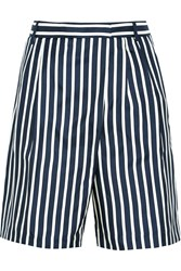 J.Crew Collection Striped Silk Twill Shorts Blue