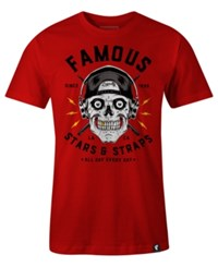Famous Stars And Straps Men's Skull Drummer Print Cotton T Shirt Carnidal