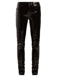 Saint Laurent Sequinned Slim Fit Cotton Blend Trousers Black