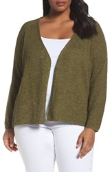 Eileen Fisher Plus Size Women's Organic Linen And Cotton Cardigan Olive