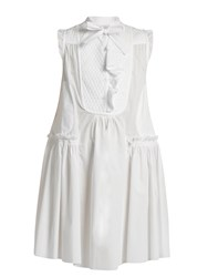 Moncler Sleeveless Cotton Poplin Dress White