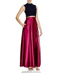 Aqua Color Block Illusion Waist Gown Navy Magenta