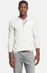 Vince Long Sleeve Wool And Cashmere Henley Heather White