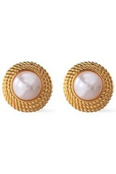Ben Amun Woman 24 Karat Gold Plated Faux Pearl Clip Earrings Gold