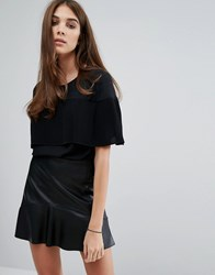 Warehouse Pleated Cape Top Black