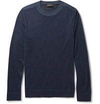 Paul Smith Striped Merino Wool Silk And Cashmere Blend Sweater Blue