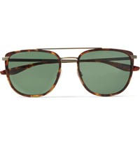 Barton Perreira Lafayette Aviator Style Acetate And Gold Tone Sunglasses Brown