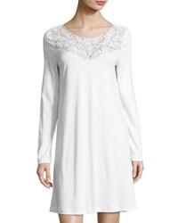 Hanro Frida Long Sleeve Nightgown White