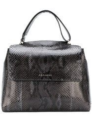 Orciani Embossed Effect Tote Bag Black