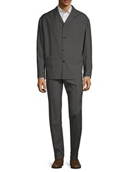 Valentino Notch Collar Wool Suit Charcoal