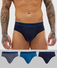 Emporio Armani 3 Pack Briefs With Contrast Waistband In Grey And Blue