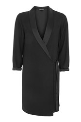 Topshop Petite Tie Side Blazer Dress Black