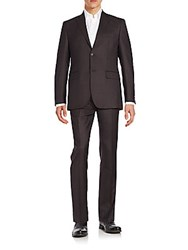 Saks Fifth Avenue Slim Fit Tonal Check Wool Suit Charcoal