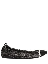 Lanvin 10Mm Tweed And Patent Leather Flats