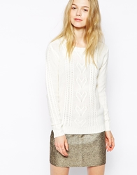 Sugarhill Boutique Chunky Heart Sweater Cream