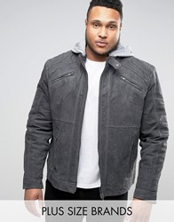 Barney's Barneys Plus Premium Suede Biker With Jersey Hoody Jacket Grey