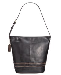 Tignanello Classic Boho Vintage Leather Bucket Bag Black Dark Brown
