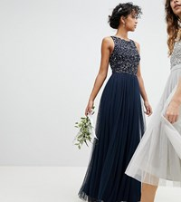 Maya Sleeveless Sequin Bodice Tulle Detail Maxi Bridesmaid Dress With Cutout Back Navy