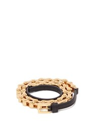 Burberry Leather Trimmed Bicycle Chain Belt Black