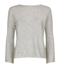 Allude Fluted Sleeve Cashmere Jumper Female Light Grey