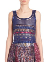 Etro Embellished Crochet Tank Top Navy