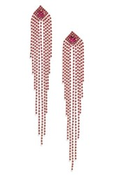 Natasha Drama Crystal Shoulder Duster Earrings Fuchsia