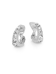 Ak Anne Klein Social White Stone Mini Hoop Clip Earrings 0.25 Silver