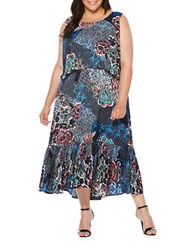 Rafaella Plus Printed Popover Dress Navy