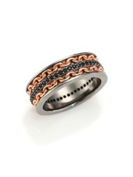 Stephen Webster Two Tone Black Sapphire Ring Silver