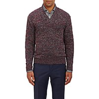 Inis Meain Men's Shawl Collar Sweater Red