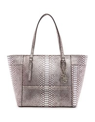 Guess Delaney Small Python Embossed Tote Pewter