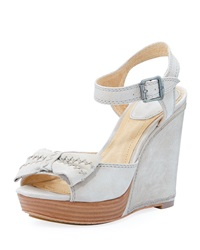 Frye Alexa Leather Bow Wedge Cement