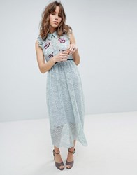 Hope And Ivy All Over Lace Midi Dress With Embroidery Detail Green