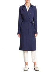 Akris Punto Laser Cut Trench Coat Deep Blue