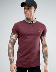 Brave Soul Knitted Collar Polo Shirt Burgundy Red