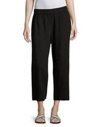 Eileen Fisher Cropped Cotton Gauze Straight Leg Pants Black