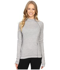 Smartwool Nts Mid 250 Isto Sport Raglan Top Black Light Gray Heather Women's Sweatshirt