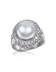 Forzieri 0.70 Ct Diamond And Pearl 18K Gold Ring White Gold