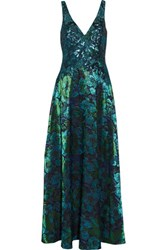 Badgley Mischka Sequined Lace And Cloque Gown Multi