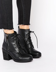 London Rebel Worker Lace Up Heeled Ankle Boots Blackpu