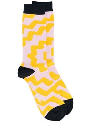 Henrik Vibskov Patterned Ankle Socks Unisex Cotton Nylon Spandex Elastane One Size Yellow Orange