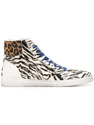 Saint Laurent Animal Print Mix Sneakers Nude And Neutrals