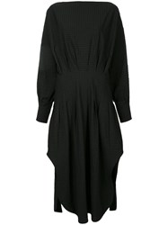 Christopher Esber Multi Tuck Shirt Dress Cotton Spandex Elastane Black
