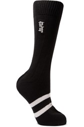 Les Girls Les Boys Classic Embroidered Striped Cotton Socks Black
