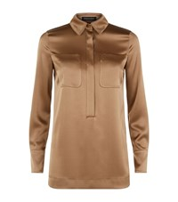 Escada Nevelas Satin Collar Tunic Top Female Copper