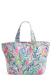 Lilly Pulitzer Print Canvas Beach Tote Green Multi Palm Reader Accesso